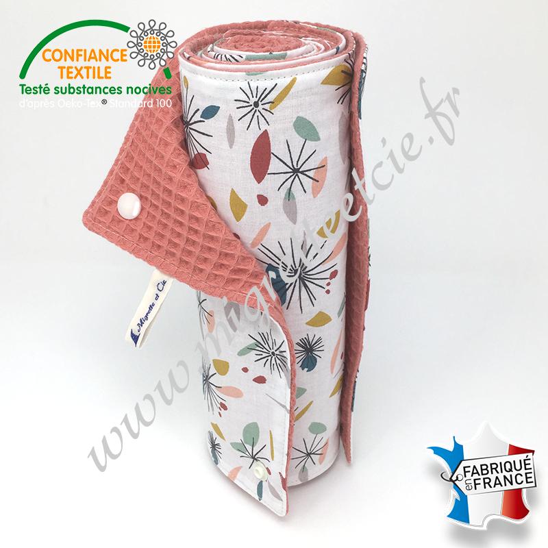 Essuie-tout lavable, coton imprimé Nicci, coton nid d'abeille brique -