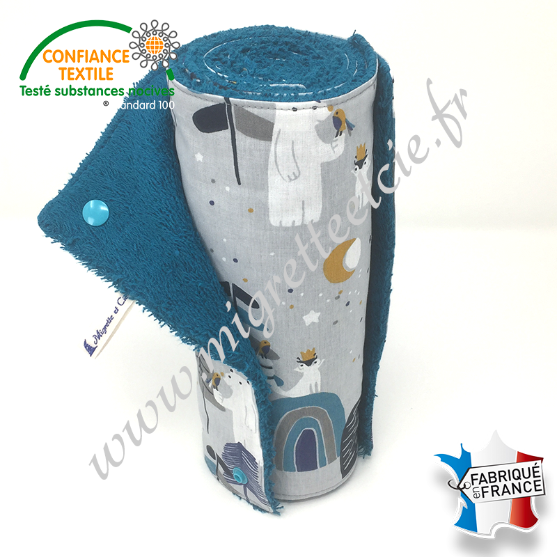 Essuie-tout lavable, coton imprimé Primoon, éponge de coton paon, Migrette et Cie