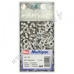 Œillets et rondelles, 8 mm, argenté, lot de 200, Prym 542422, Migrette et Cie