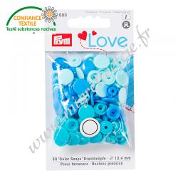 Bouton pression Color, 12.4mm, bleu - vert - turquoise, Prym Love, Migrette et Cie, Prym 393000