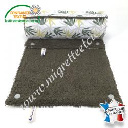 Essuie-tout lavable, coton imprimé Algao, éponge de coton kaki, Migrette et Cie