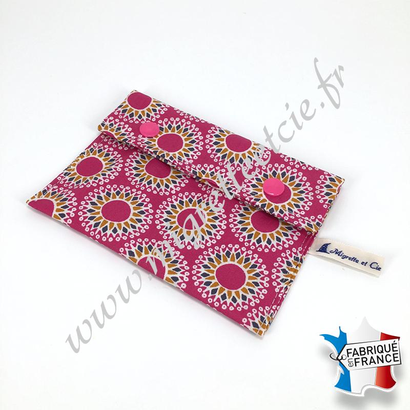 Pochette coton enduit - malawa rose