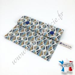 Pochette coton enduit - payani bleu
