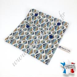 Pochette coton enduit - payani bleu -