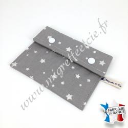 Pochette coton enduit - gris étoilé