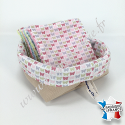 Lingettes lavables, coton imprimé papillons, éponge de bambou, panier en tissu assorti - Migrette et Cie