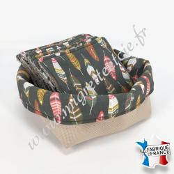 Lingettes lavables, coton imprimé Miwok, éponge de bambou, panier en tissu assorti - Migrette et Cie