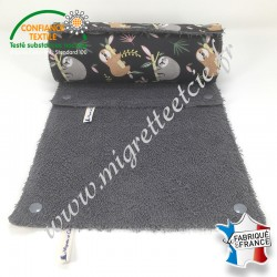 Essuie-tout lavable, coton imprimé Lazare, éponge de coton Grise - Migrette et Cie