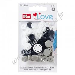 Bouton pression Color Snaps, Prym Love, 12,4mm, bleu marine/gris/blanc, PRYM 393008, Migrette et Cie