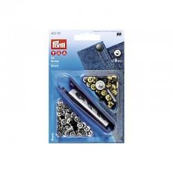 Rivets, 9mm, argenté/vieil fer, PRYM 403101, Migrette et Cie