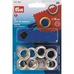 Œillets et rondelles, 14mm, argenté, PRYM 541383, Migrette et Cie