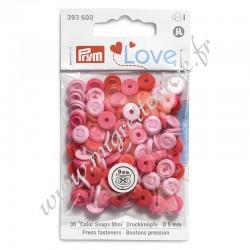 Boutons pression « Color Snaps Mini » optique couture, Prym Love, rose,  Migrette et Cie, Prym 393600