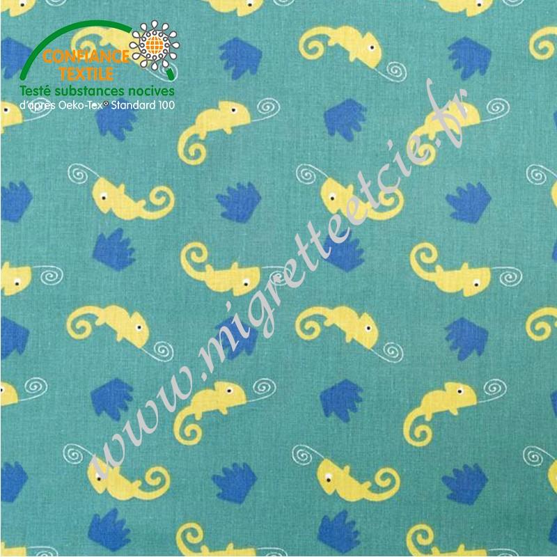 Coton imprimé Camleo vert, Migrette et Cie