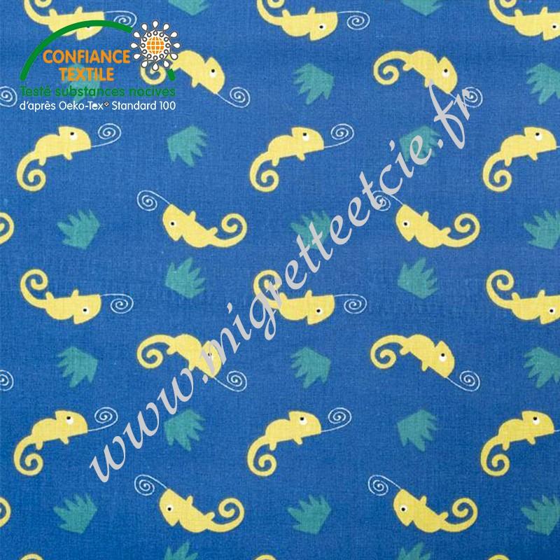 Coton imprimé Camleo bleu, Migrette et Cie