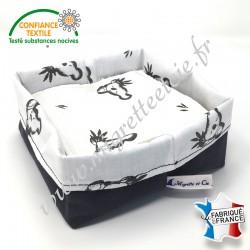 Lingettes lavables, coton imprimé Luan, éponge de bambou rose et verte, panier en tissu assorti, Migrette et Cie