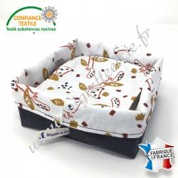 Lingettes lavables, coton imprimé Nooky, éponge de bambou, panier en tissu assorti, Migrette et Cie