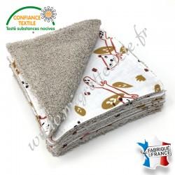 Lingettes lavables, coton imprimé Nooky, éponge de bambou, Migrette et Cie