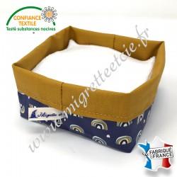 Lingettes lavables Tencel, panier en tissu enduit Arcol assorti, Migrette et Cie