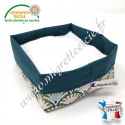 Lingettes lavables Tencel, panier en tissu enduit Yona assorti, Migrette et Cie