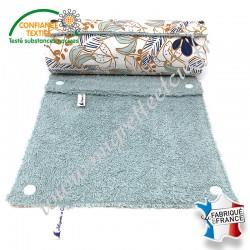 Essuie-tout lavable, coton imprimé Poyo, éponge de coton vert d'eau, Migrette et Cie