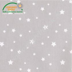 Coton enduit imprimé gris étoilé, Migrette et Cie
