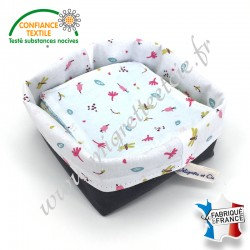 Lingettes lavables, coton imprimé Jeiade, éponge de bambou, panier en tissu assorti, Migrette et Cie