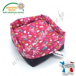 Lingettes lavables, coton imprimé Lippy, éponge de bambou, panier en tissu assorti, Migrette et Cie