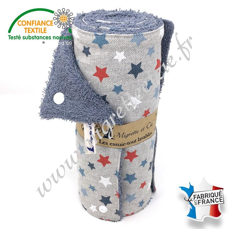 Essuie-tout lavable, coton imprimé Astro glacier façon Lin, éponge de coton, Migrette et Cie