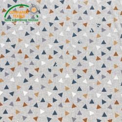 Coton imprimé Pyramides ocre façon Lin, Migrette et Cie