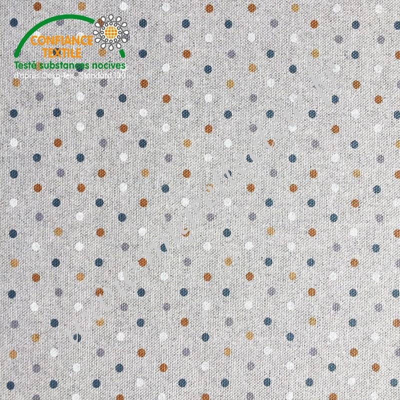 Coton enduit imprimé confettis ocre façon Lin, Migrette et Cie