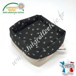 Lingettes lavables, micro-éponge de bambou, coton imprimé Pipson wengé, panier en tissu assorti, Migrette et Cie
