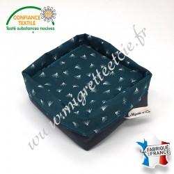 Lingettes lavables, micro-éponge de bambou, coton imprimé Pipson paon, panier en tissu assorti, Migrette et Cie