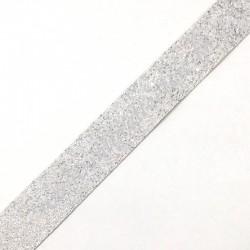 Galon pailleté Argenté, fond blanc, 30 mm, Migrette et Cie