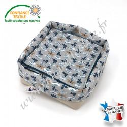 Lingettes lavables, micro-éponge de bambou, coton imprimé Sasaki, panier en tissu assorti, Migrette et Cie