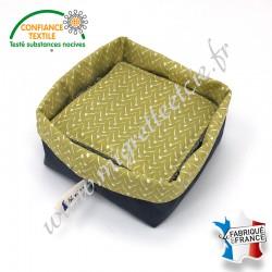 Lingettes lavables, micro-éponge de bambou, coton imprimé Lixneg Moutarde, panier en tissu assorti, Migrette et Cie
