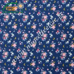 Coton imprimé Flomi Bleu & Rose, Migrette et Cie