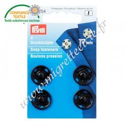 Boutons pression à coudre, 17mm, noir, PRYM 341254, Migrette et Cie