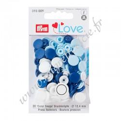 Bouton pression Color Snaps, Prym Love, 12,4mm, bleu/blanc/bleu clair, PRYM 393009, Migrette et Cie
