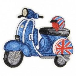 Ecusson thermocollant scooter bleu anglais 3,5 cm x 6 cm, Migrette et Cie