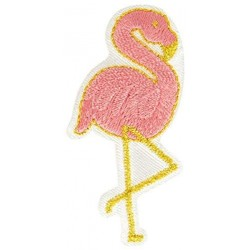 Ecusson thermocollant doré Flamant Rose 2,5 cm x 5 cm, Migrette et Cie