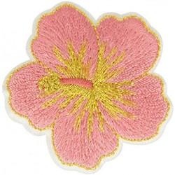 Ecusson thermocollant doré Fleur Hibiscus Rose 4,5 cm x 5 cm, Migrette et Cie