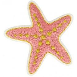 Ecusson thermocollant doré étoile de mer Rose 3,5 cm x 4 cm, Migrette et Cie