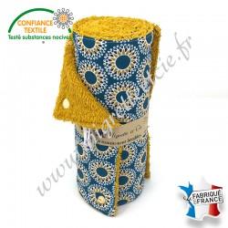 Essuie-tout lavable, coton imprimé Malawa turquoise, éponge de coton, Migrette et Cie
