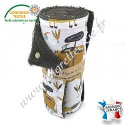 Essuie-tout lavable, coton imprimé Folzo, éponge de coton, Migrette et Cie
