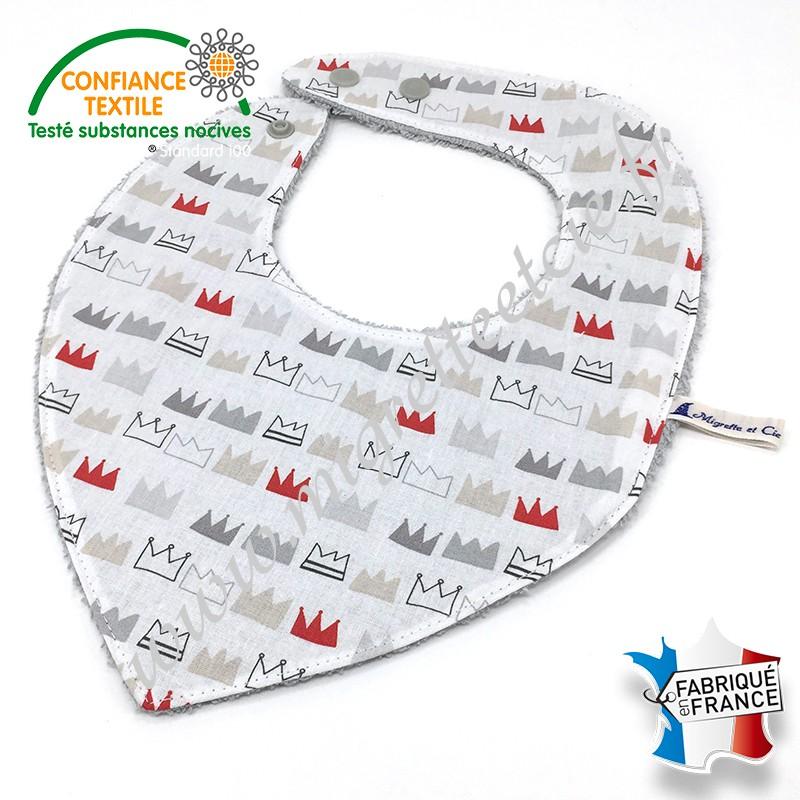 Bavoir bandana coton imprimé couronne et éponge de bambou, Migrette et Cie