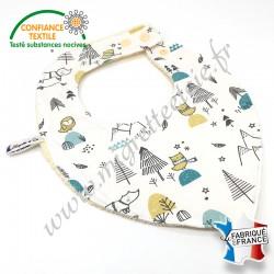 Bavoir bandana jersey imprimé cyprès et hiboux et éponge de coton, Migrette et Cie