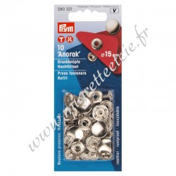 Boutons pression sans couture, 15mm, argenté, Prym 303321, Migrette et Cie