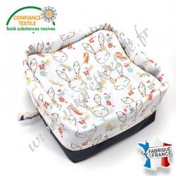 Lingettes lavables bébé, coton imprimé Cajoline, éponge de bambou, panier en tissu assorti, Migrette et Cie