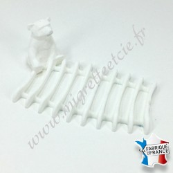 Porte-savon Ourson, blanc, 9 x 13 cm, Migrette et Cie