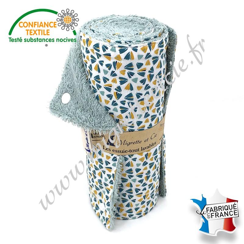 Essuie-tout lavable, coton imprimé Zantéme, éponge de coton vert d'eau, Migrette et Cie